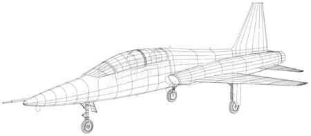 Airplane. Vector wireframe concept. Created illustration of 3d. 일러스트