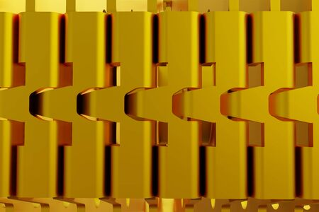 Abstract gold, metal design modern futuristic background. 3d rendering. Stock Photo