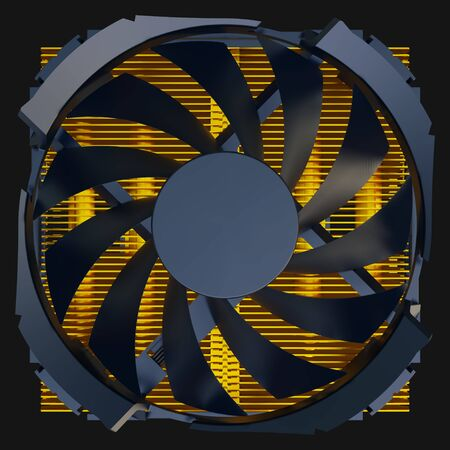 CPU fan with copper radiator. 3D rendering.