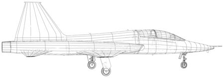 Outline Airplane. Vector rendering of 3d. Wire-frame style. The layers of visible and invisible lines are separated. 일러스트