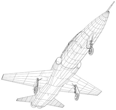 Airplane jet on white background. Vector rendering of 3d. Wire-frame style.