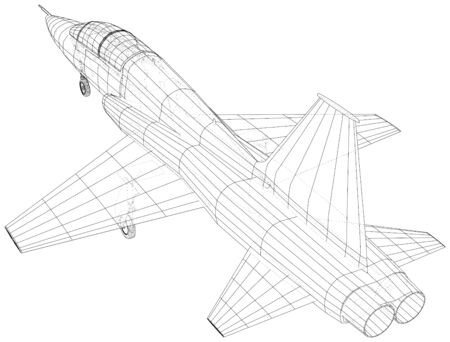Airplane jet sketch. Vector rendering of 3d. Wire-frame style. 일러스트