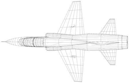 Airplane jet close-up. Wire-frame. Иллюстрация