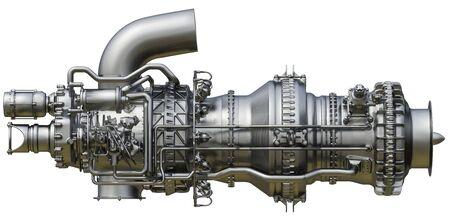El motor de turbina de gas es el motor principal del tipo centrífugo de compresor de gas. Representación 3D. Foto de archivo