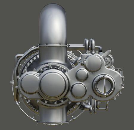 Motore a turbina a gas della centrale elettrica. rendering 3D.
