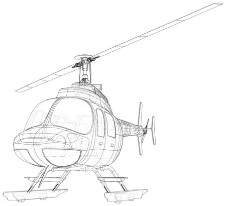 Blueprint of helicopter. Vector wireframe concept. Blue purple. Created illustration of 3d.