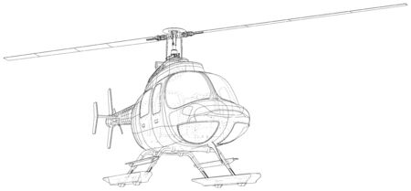Helicopter in outline style. Created wireframe illustration of 3d.