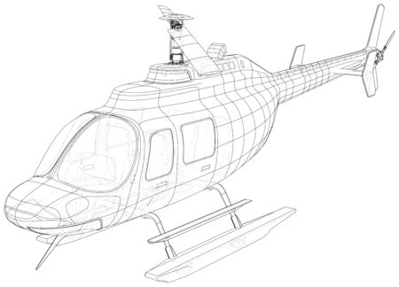 Silhouette of helicopter. Created illustration of 3d. Vector wire-frame concept. Illustration