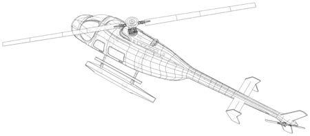 Helicopter. Created illustration of 3d. Wire-frame style. The layers of visible and invisible lines are separated