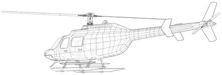 Drawing of helicopter, Vector wireframe concept. Created illustration of 3d. The layers of visible and invisible lines are separated