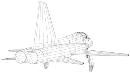 Outline Airplane. Vector rendering of 3d. Wire-frame style. The layers of visible and invisible lines are separated. Иллюстрация