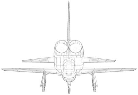 Airplane. Vector wireframe concept. Created illustration of 3d. Иллюстрация