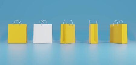 One out unique paper bag concept on a blue background. 3d rendering.