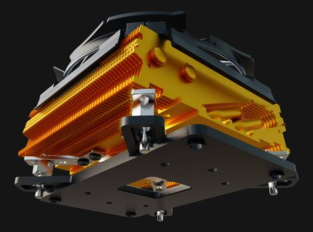 Active CPU cooler with the copper finned heat-sink and the fan. 3d rendering.