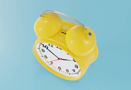 Yellow alarm clock. Top view. 3d rendering. Фото со стока