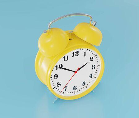 Yellow alarm clock, ringing, blue background 3d rendering