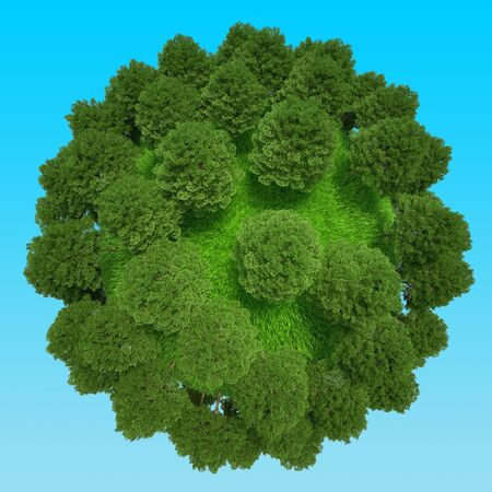 Planet with trees and grass. Eco Green miniature globe concept. 3d rendering.
