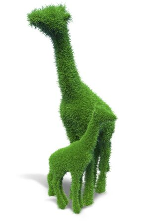 Giraffe of green grass. Representing the concept of conservation of nature and animals. 3d illustration. Фото со стока