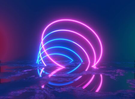 Glowing lines, tunnel, neon lights, virtual reality, abstract background, square portal, arch, pink blue spectrum vibrant colors, laser show. 3d rendering. Foto de archivo - 133808633