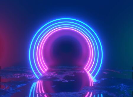 Glowing lines, tunnel, neon lights, virtual reality, abstract background, square portal, arch, pink blue spectrum vibrant colors, laser show. 3d rendering. Foto de archivo - 133808647