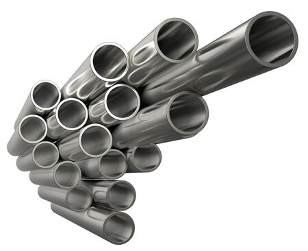 Steel pipes of isolated on white background. Glossy 3d rendering steel tubes design.