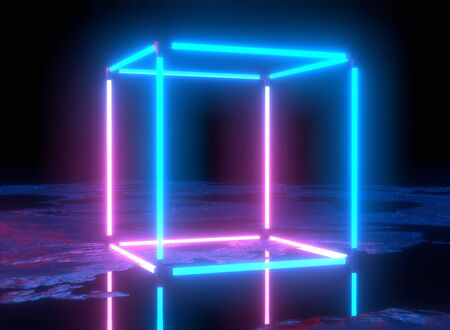 Neon lights, virtual reality, abstract background, cube portal, arch, pink blue spectrum vibrant colors, laser show. 3d rendering, glowing lines.