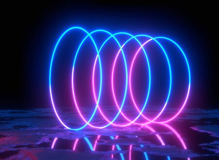 Glowing lines, tunnel, neon lights, virtual reality, abstract background, square portal, arch, pink blue spectrum vibrant colors, laser show. 3d rendering.