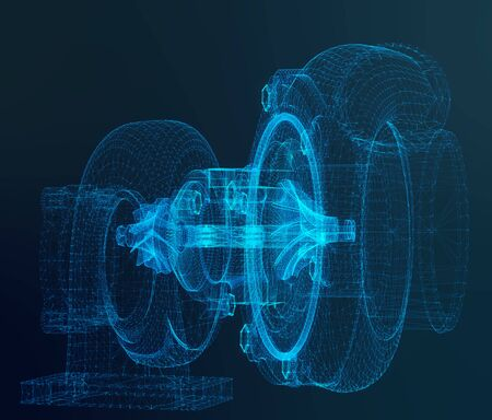 Turbine background. Turbocharger wire-frame. Power gain impeller. 3d rendering.