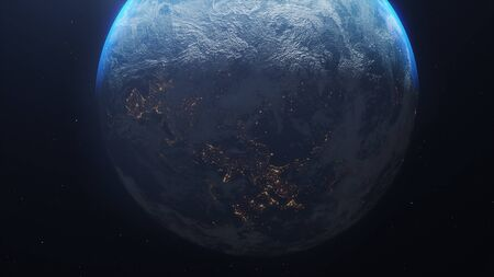 Planet earth from the space at night .  3d illustration.