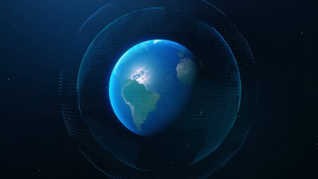 Global network connection. Concept background with planet Earth. Internet and technology. Blue background. 3d rendering of planet Earth
