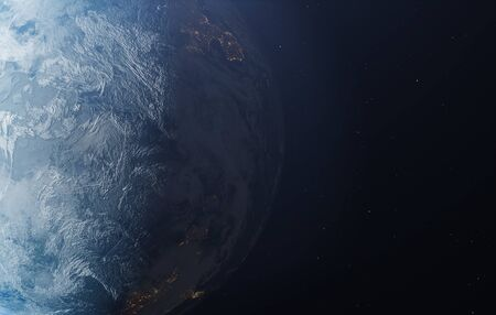 Planet earth from the space at night.  3d illustration.