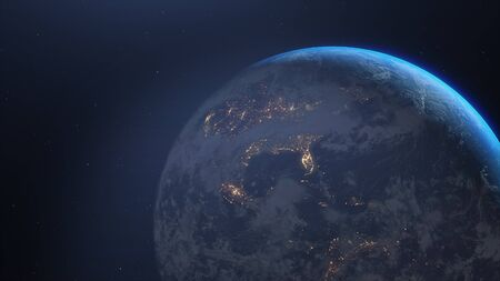 Earth in galaxy. 3d illustration