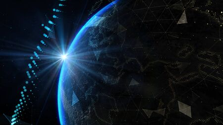 Global network connection and telecommunication on earth. Banco de Imagens