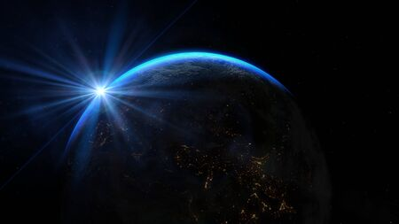 Planet earth from the space at night. Sunrise illuminate the earth in outer space. Banco de Imagens