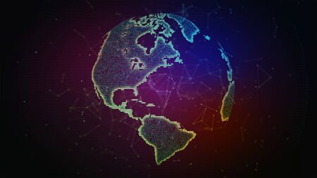 Connection lines Around Earth Globe, Futuristic Technology Background with Light Effect. Banco de Imagens
