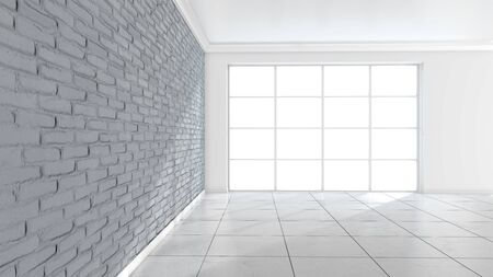 Room interior with white brick wall and marble floor background. 3d illustration.