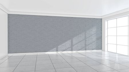 White brick wall background in room. Texture horizontal wallpaper. 3d illustration. Banco de Imagens