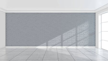 White brick wall, texture of whitened masonry as a background. 3d illustration.