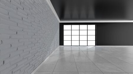 Empty room with brick wall and stained glass windows. 3D rendering.
