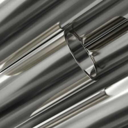 Steel pipes on white background. Glossy 3d rendering steel tubes design.