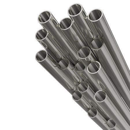 Steel pipes of isolated on white background. Glossy 3d rendering steel tubes design. Banco de Imagens