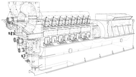 High voltage industrial standby dieasel generator at a power generation. The layers of visible and invisible lines are separated. EPS10 format. Wire-frame.