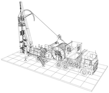 Coil Tubing roll Truck. format. Vector created 3d.