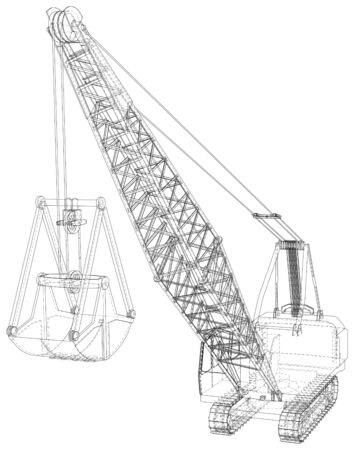 Walking Dragline, Mobile excavating machine used in open-cut mining. The layers of visible and invisible lines are separated. Wire-frame.