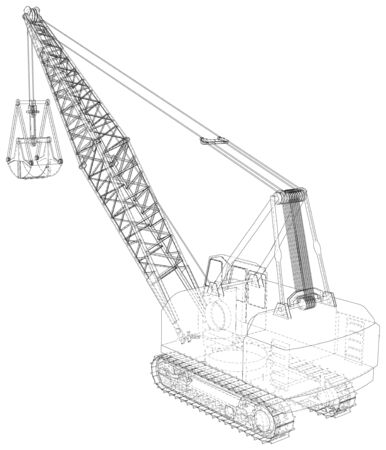 Mining machine. The machine of quarry mining works. The layers of visible and invisible lines are separated. Wire-frame outline.