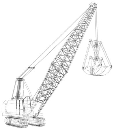 Dragline walking excavator. Vector rendering of 3d. Wire-frame style. The layers of visible and invisible lines are separated.