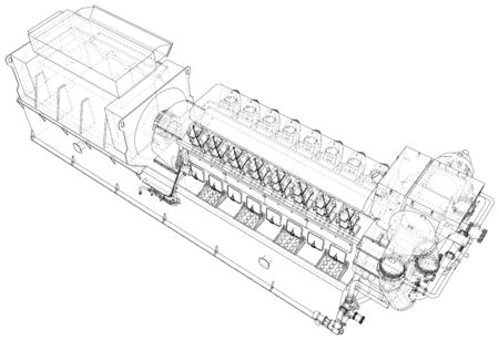 Diesel generator unit for factory. he layers of visible and invisible lines are separated. Wire-frame outline.