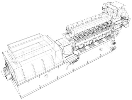 Diesel generator. The layers of visible and invisible lines are separated.