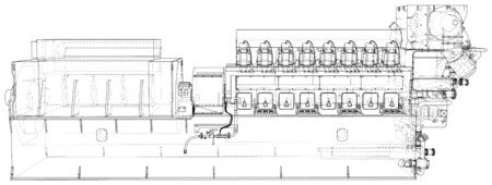 Generator. Diesel and gas industrial electric generator. The layers of visible and invisible lines are separated. Wire-frame outline.