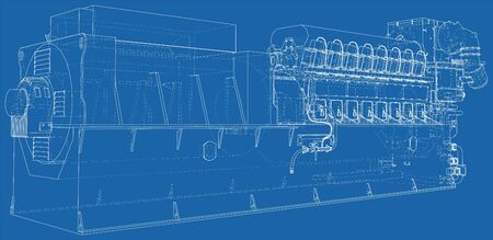 Diesel generator. The layers of visible and invisible lines are separated. EPS10 format. Wire-frame. Illustration
